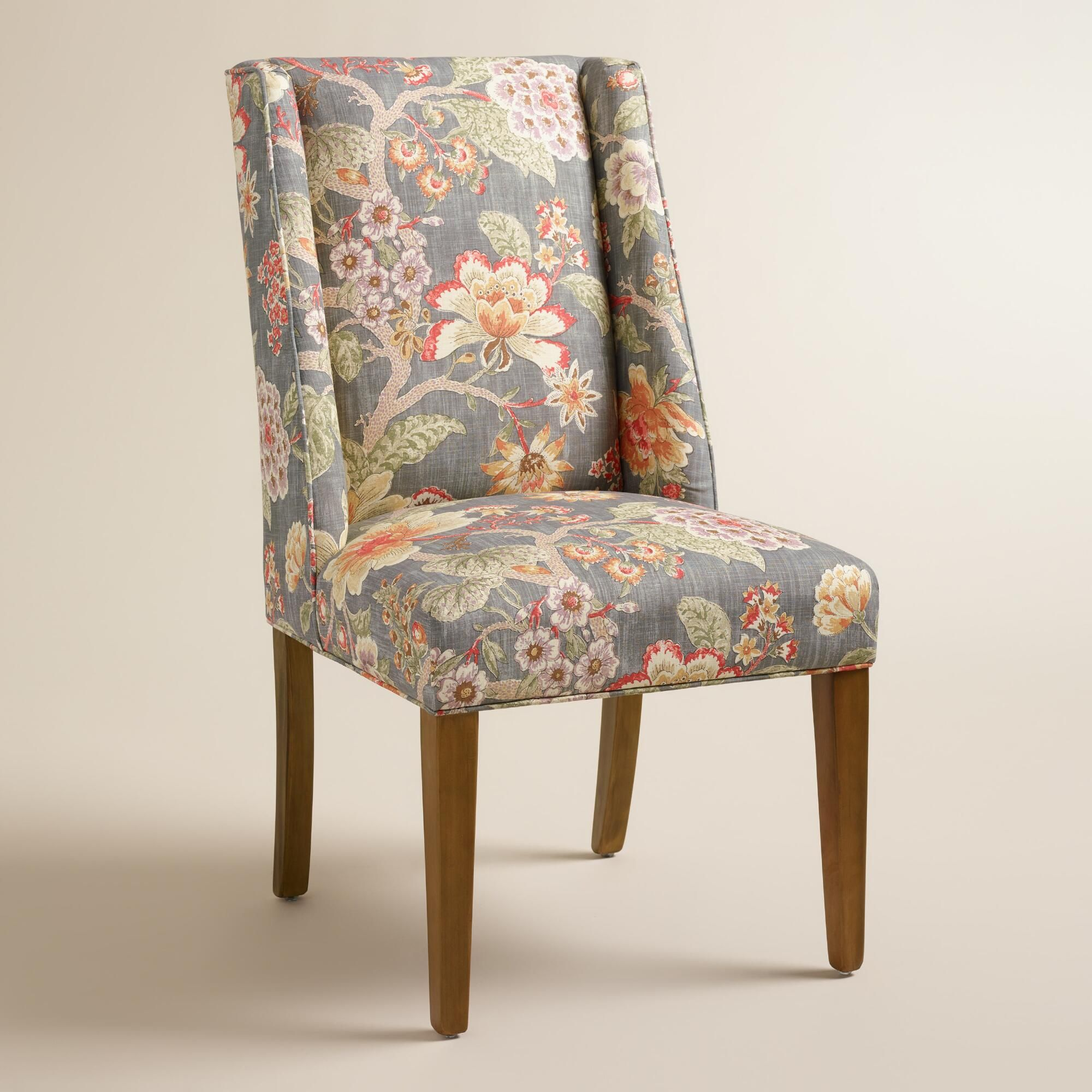 Best With A Warm Hued Floral Motif And Subtle Wingback Profile Our Blue And Gray Fabric Dining Chair 400 x 300