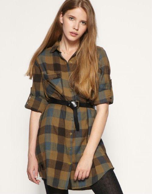 Oversized Check Shirt Dress