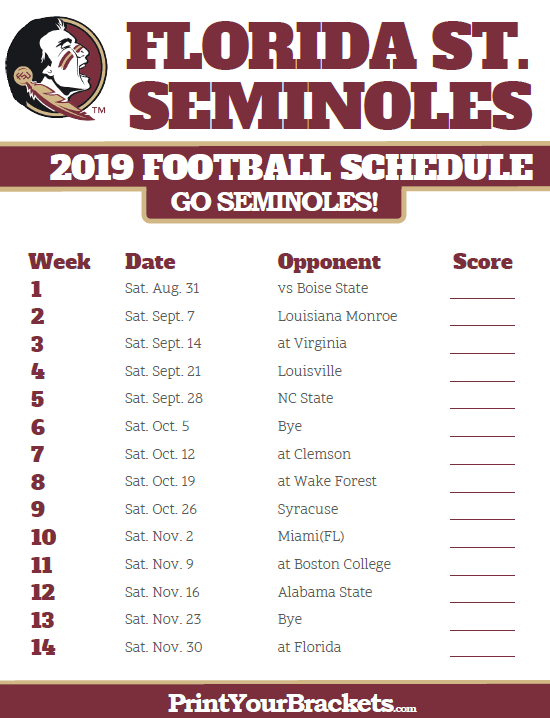 Florida State Seminoles Football Schedule 2019 Printable 2019 Florida State Seminoles Football Schedule