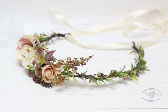 Rustik feathers flower crown Beige brown floral by ByKochetova