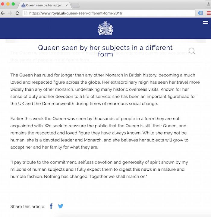 The Official Royal Website Suggesting That Queen Elizabeth Is Not