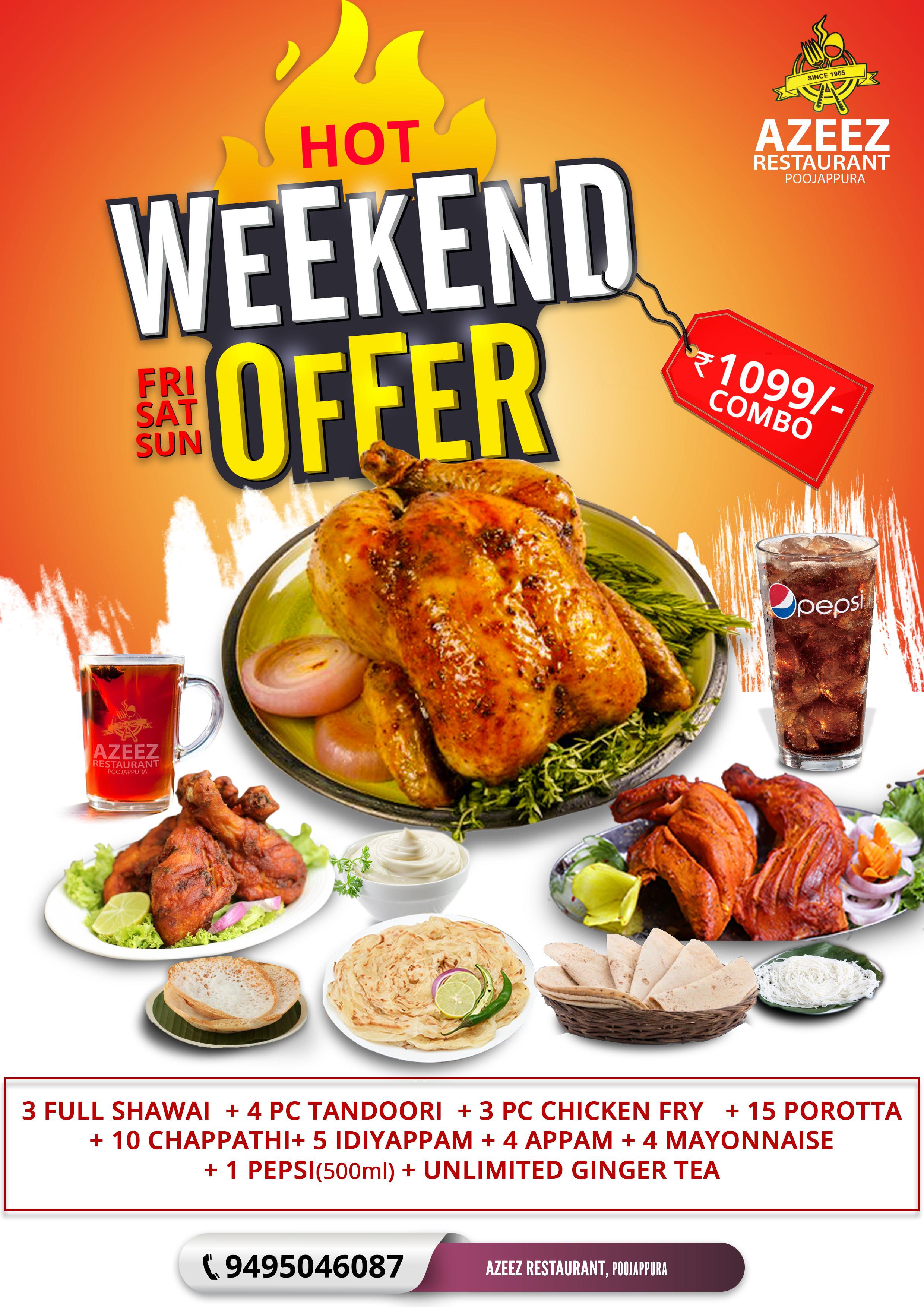 Azeez Restaurant Social Media Poster Hot Weekend Combo Offer