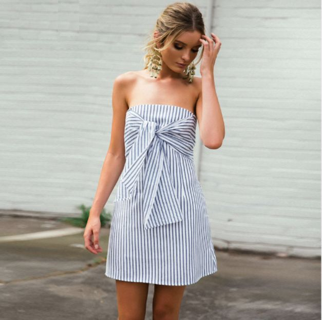 722a7c515b Melanie Stripe Tube Top Dress with Twist Tie. Sexy and casual mini dress in  stripe and popular twist tie at the front. Stripe cotton linen blend dress  is ...