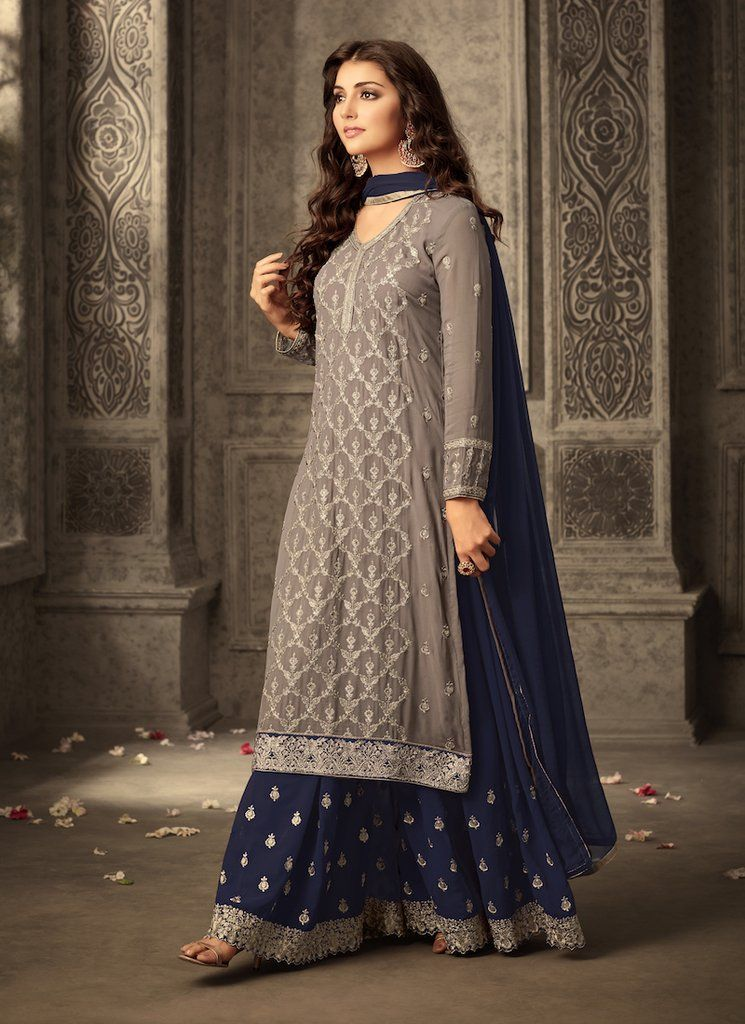 335305595f Navy Blue and Grey Embroidered Sharara Suit features a georgette kameez  with santoon inner, georgette sharara with santoon inner and chiffon  dupatta.