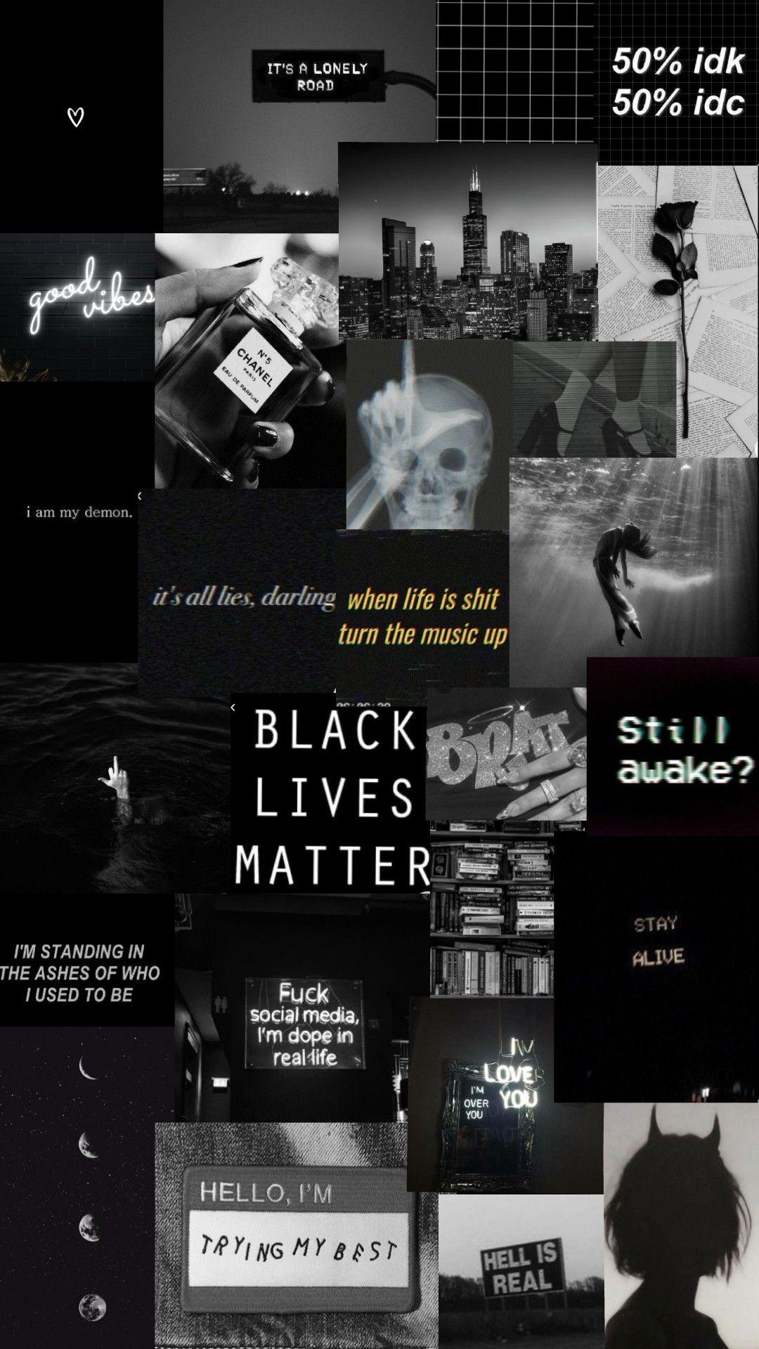 Black Dark Tumblr Collage Wallpaper Black Aesthetic Wallpaper Aesthetic Desktop Wallpaper Cute Black Wallpaper