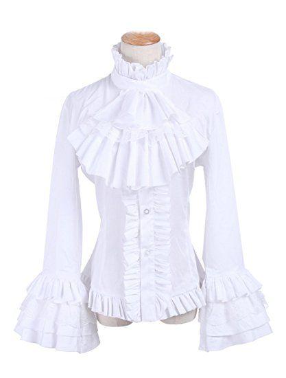 46e638d39d890d Nuoqi Women Lolita Stand-Up Collar Lotus Ruffle Shirts White Retro  Victorian Blouse