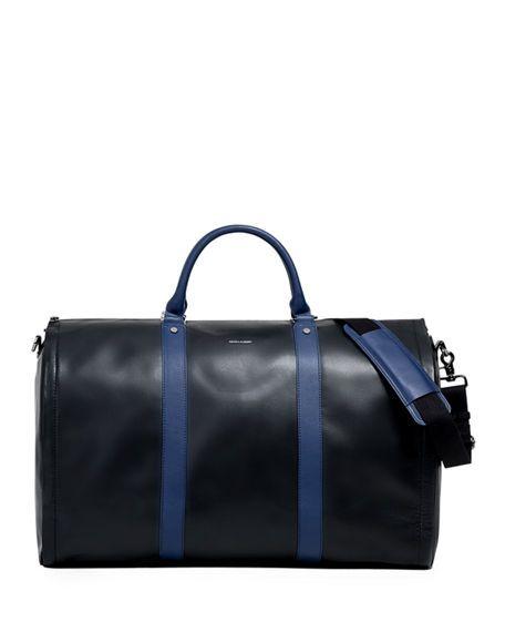 da2d1301d60d HOOK + ALBERT | Men's Smooth Leather Garment Duffel Bag Carryon Luggage -  Blue | CAD