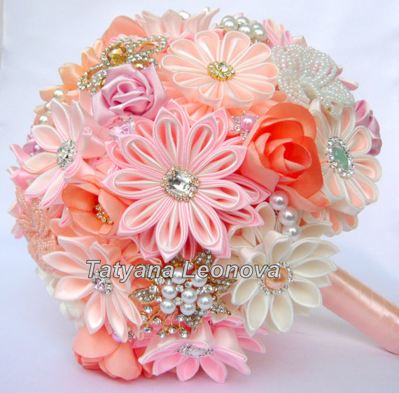 Wedding Bouquet brooch bouquet Pink Ivory and Peach by LIKKO