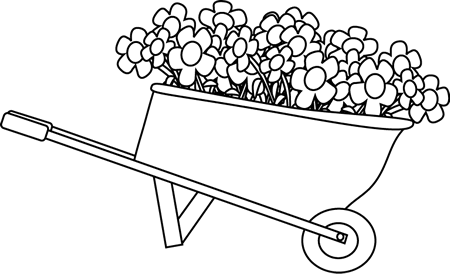 Black and White Wheelbarrow Filled with Flowers Clip Art