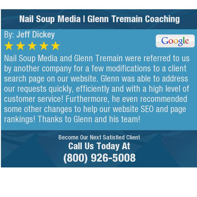 Nail Soup Media and Glenn Tremain were referred to us by another company for a few...