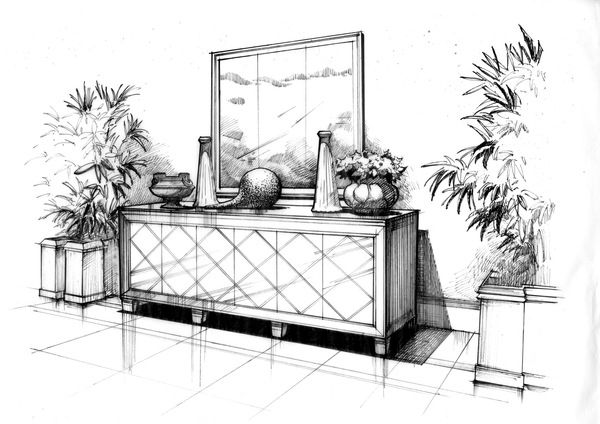 Interior Design Drawings: Pen And Ink Drawing Practice By Wenyu Zhou