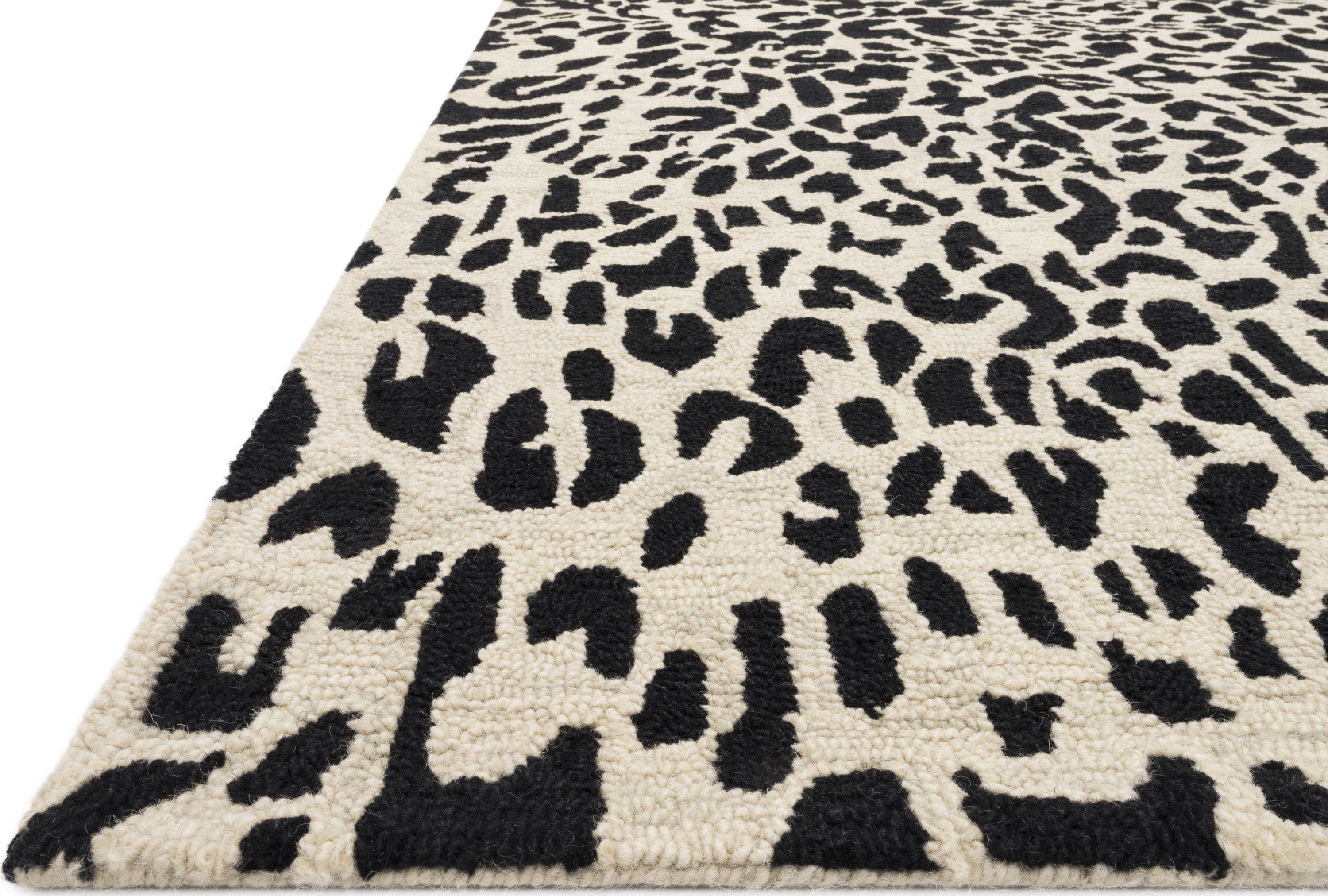 Masai Leopard Rug Color Black Ivory Size 1 6 Square In 2020 Area Rugs Leopard Rug
