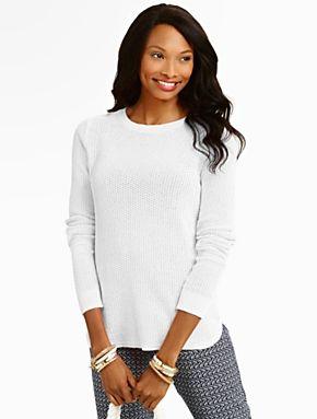 Talbots - Lattice-Stitched Back-Button Sweater | New Arrivals |