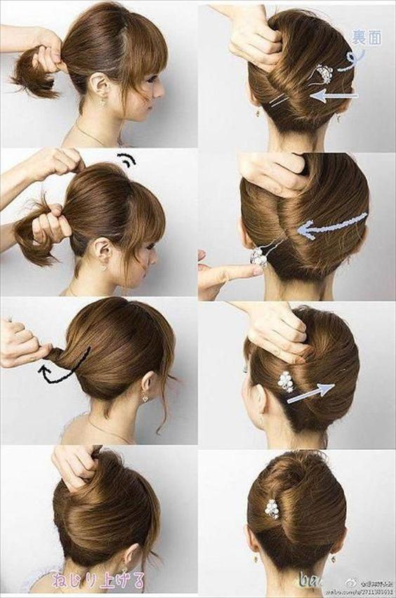 Easy Hair Updos For Short Hair Short Hair Updo Thick Hair Styles Hair Lengths