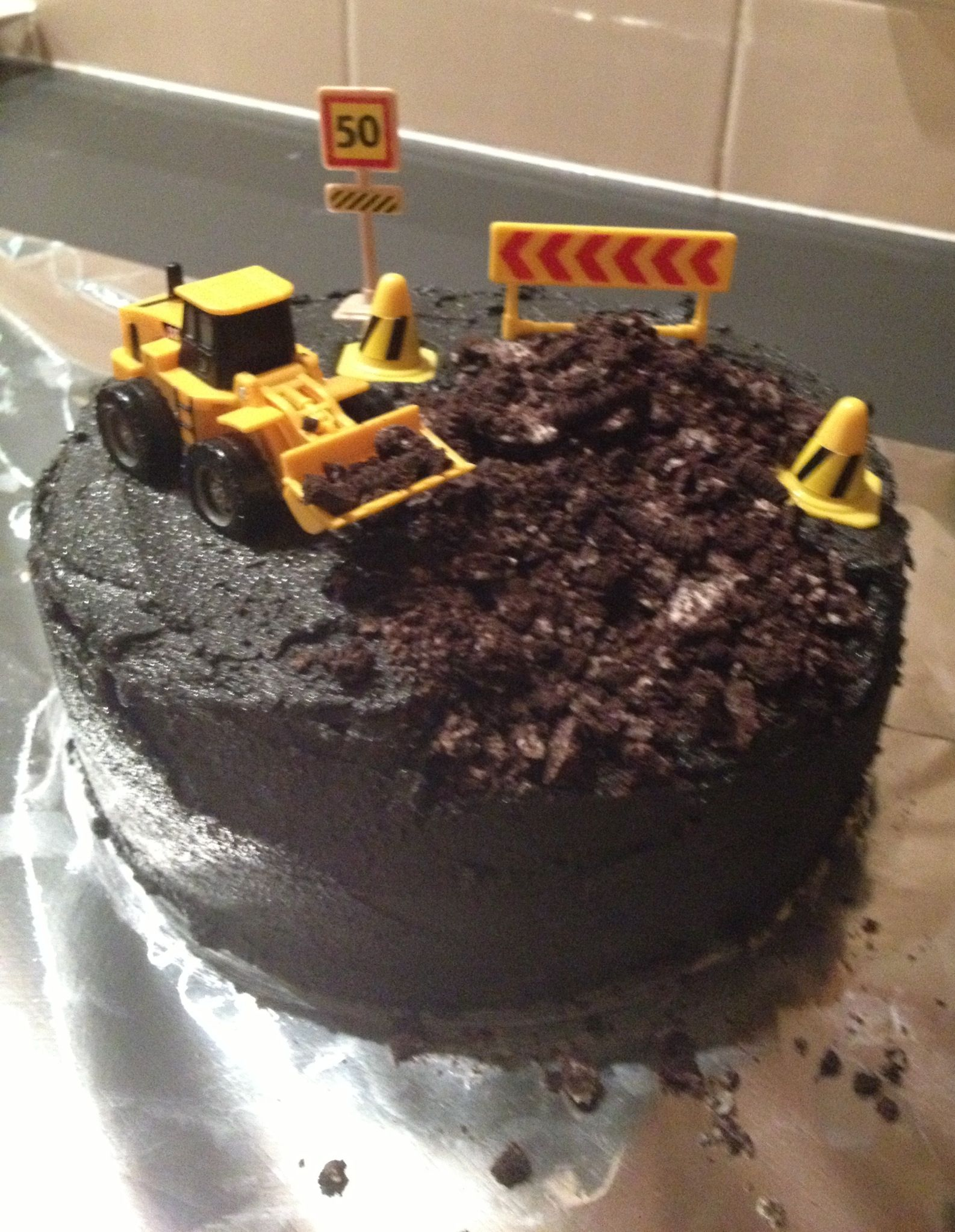 Remarkable Kids Birthday Cake Home Made Dirt And Tractors Perfect For A Funny Birthday Cards Online Chimdamsfinfo