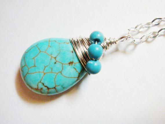 Turquoise Necklace - Blue Necklace - Turquoise Necklace in Sterling Silver - Turquoise Pendant - Turquoise Jewelry, $32.00