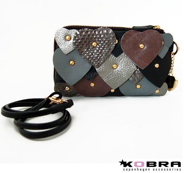 Mobil taske / lille clutch med hjerter, guld