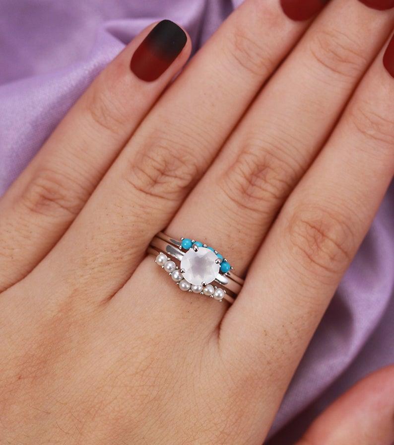3pcs Moonstone engagement ring set white gold women Curved