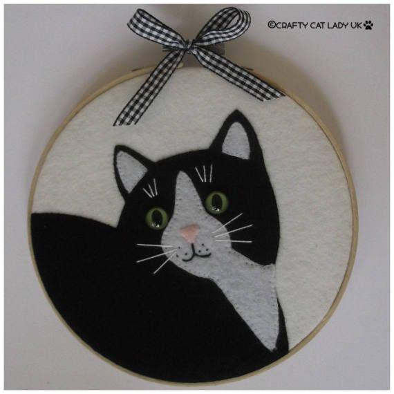 Hoop art, tuxedo cat, cat hoop art, cat lovers, cat decor, cat gifts ...