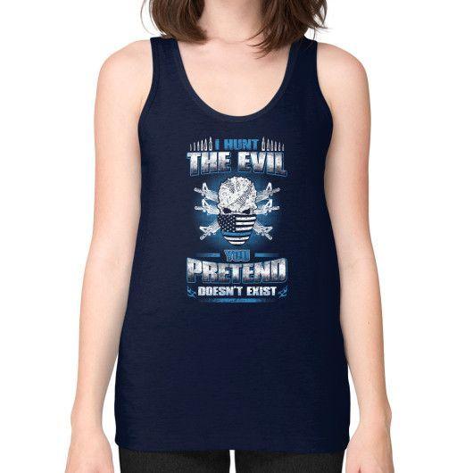I HUNT THE EVIL Unisex Fine Jersey Tank (on woman)