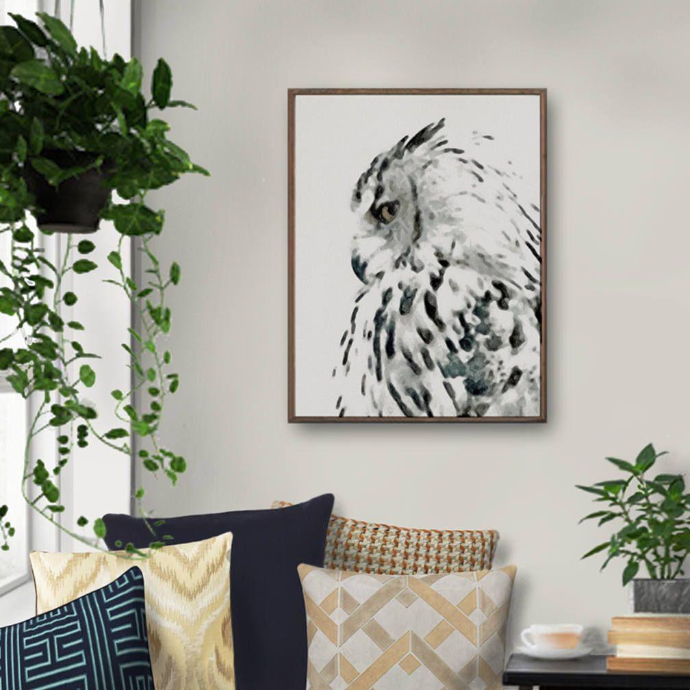 Bird art owl painting wall decor watercolor print nordic art