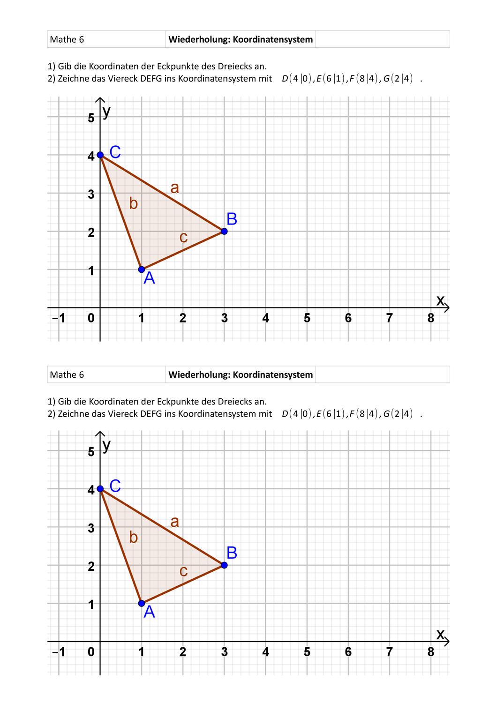 Wiederholung Koordinatensystem Punkte Eintragen Und Ablesen Unterrichtsmaterial Im Fach Mathematik In 2020 Koordinaten Bruchrechnen Mathematik