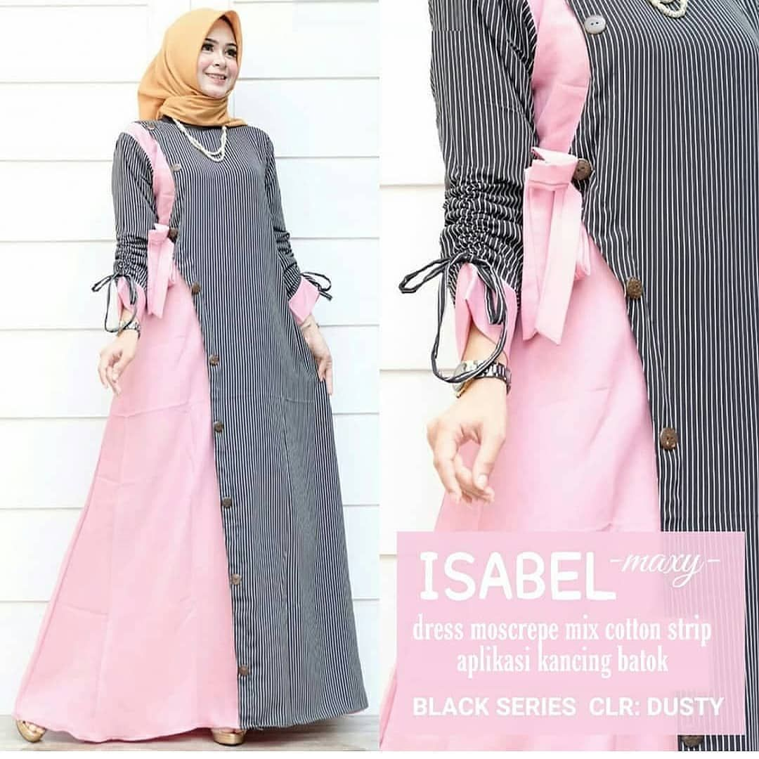 IZABEL DRESS BAHAN MOSSCREPE SALUR FIT L #baju explore Pinterest
