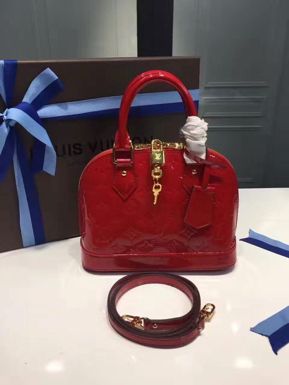 Louis Vuitton Monogram Vernis Leather Alma Bb Bag Cherry M90174 Bags Louis Vuitton Alma Bag Designer Bags For Less
