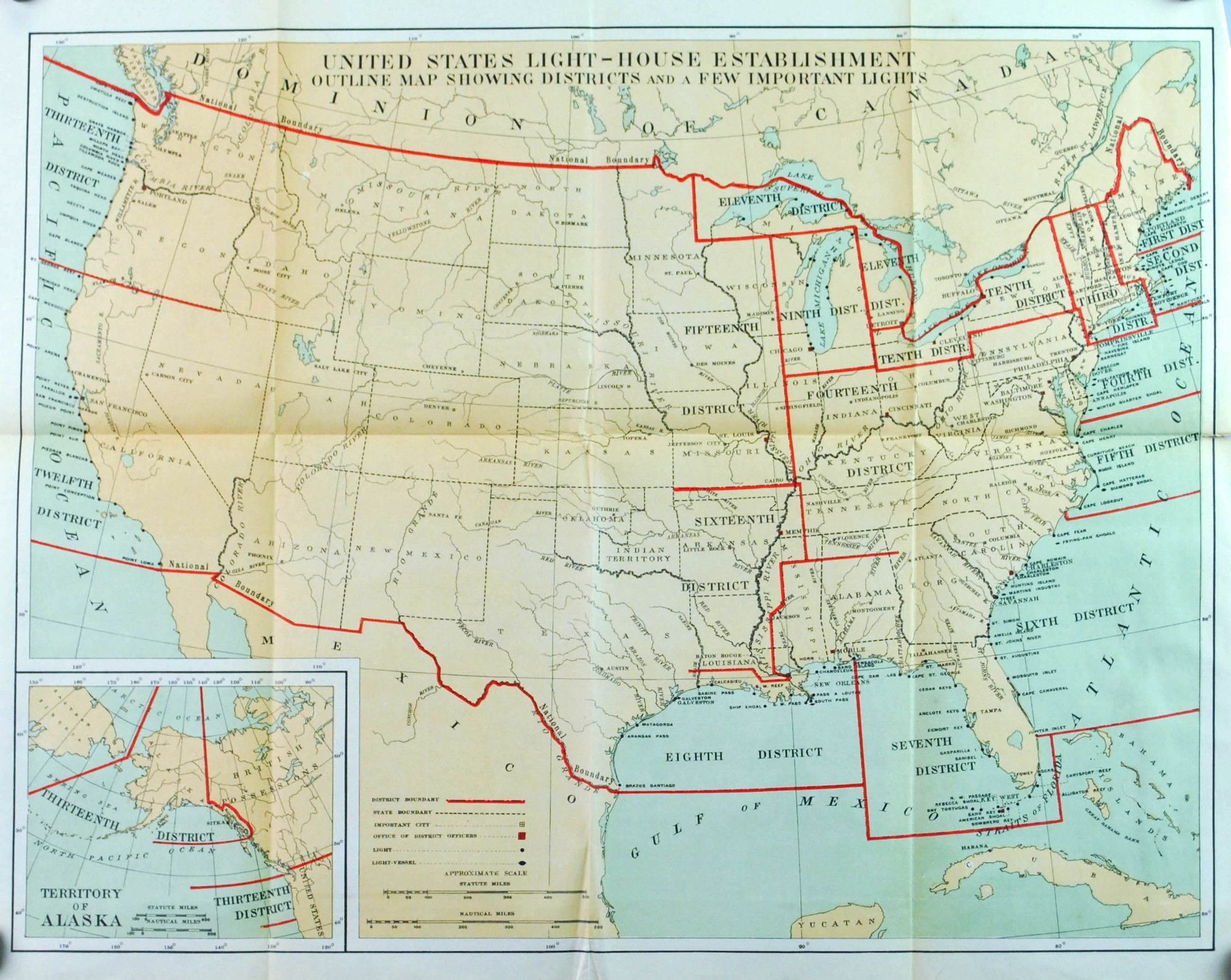 Lighthouse Districts United States Antique Map 1900 | Kartographie ...