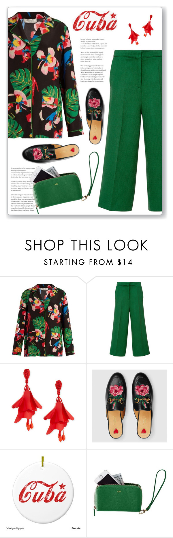 """""""Pack and Go: Cuba!"""" by polivorka-polivorochka ❤ liked on Polyvore featuring Valentino, Rochas, Oscar de la Renta, Gucci, Mark & Graham and Packandgo"""