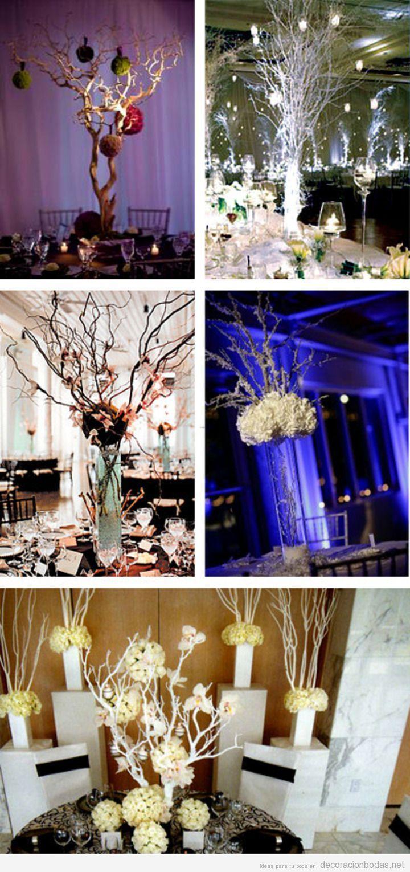 Decoraci n de centros de mesa en bodas con jarrones y ramas rboles secas primera comunion - Decoracion de jarrones ...