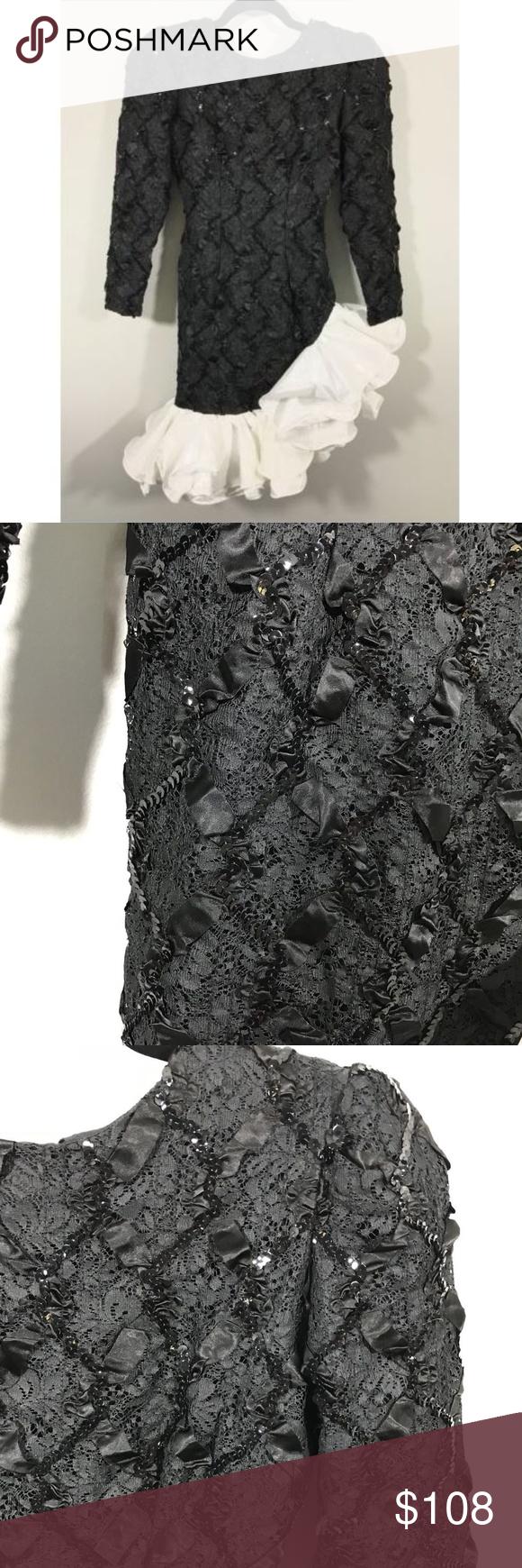 Vtg s prom dress dave u johnny size small black ud pit to pit