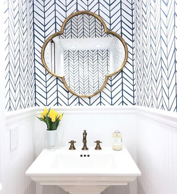 How To Make A Small Bathroom Look Bigger The Zhush In 2020 Feather Wallpaper Bathroom Mirror Bathroom Wallpaper