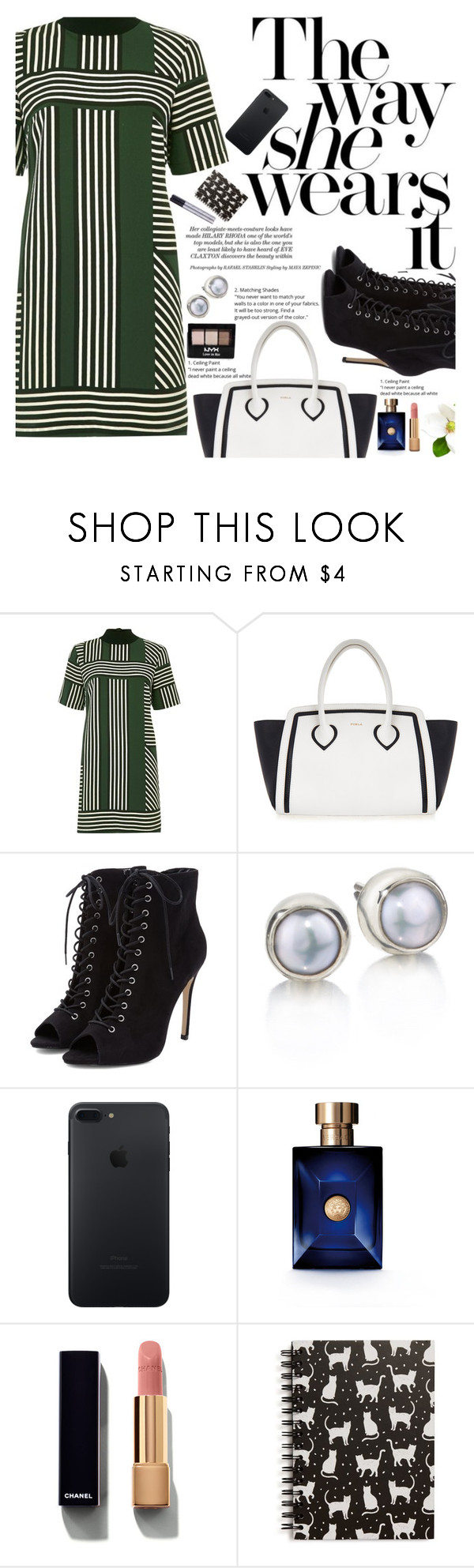 """Untitled #1955"" by anarita11 ❤ liked on Polyvore featuring River Island, Furla, NYX, Versace, Chanel and Tri-coastal Design"