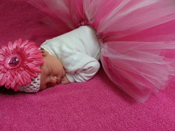 Hot Pink and White Newborn Tutu with Headband by ShirleyTemples, $32.00