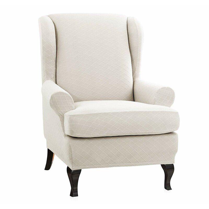 Stretch Spandex Armchair Cover Split Decorative Wing back Sofa Slipcover