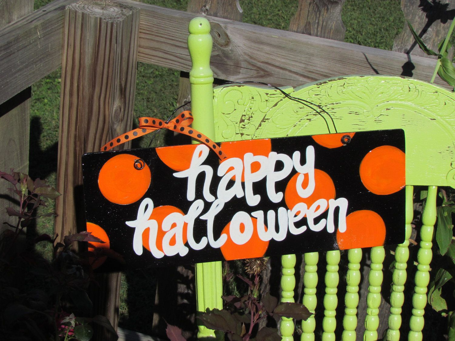 Handpainted black and orange polka dot happy  halloween sign.