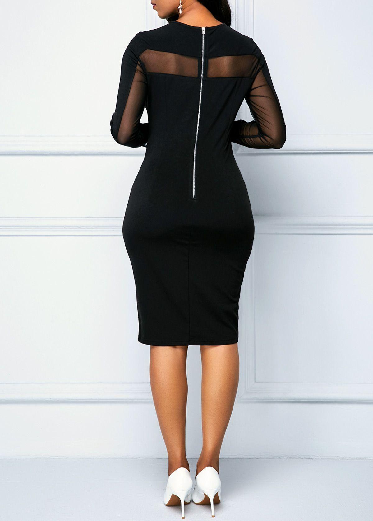 Black Zipper Back Long Sleeve Sheath Dress Rotita Com Usd 30 36 Long Sleeve Sheath Dress Black Sheath Dress Prom Dresses With Pockets [ 1674 x 1200 Pixel ]