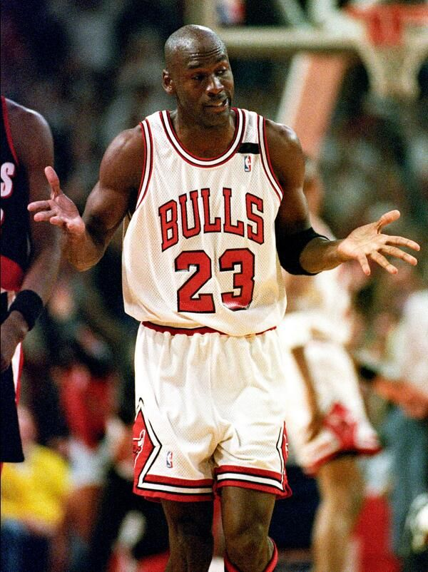 7ec66222e24 ... 1992  the Birth of The Shrug. After hitting his sixth 3-pointer in the  first half against the Blazers in Game 1 of the 1992 NBA Finals