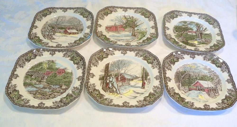 Johnson Bros The Friendly Village Square 6 Salad Plates Each Has Different Scene & Johnson Bros The Friendly Village Square 6 Salad Plates Each Has ...
