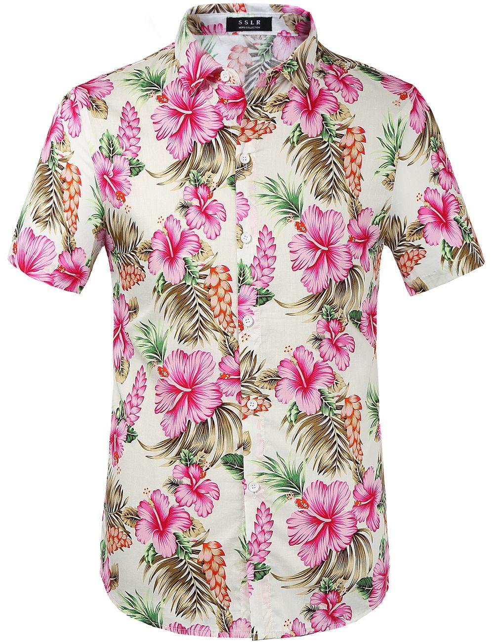 Men Hawaiian Tropical Vintage Floral Print Tee Button Down Cool V-neck Shirt Top