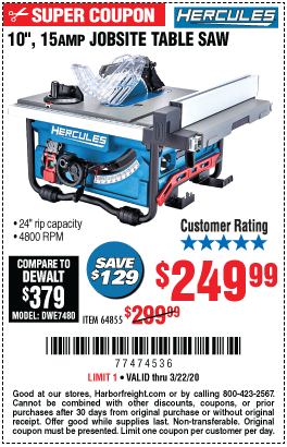 Hercules 10 In 15 Amp Compact Job Site Table Saw For 249 99 In