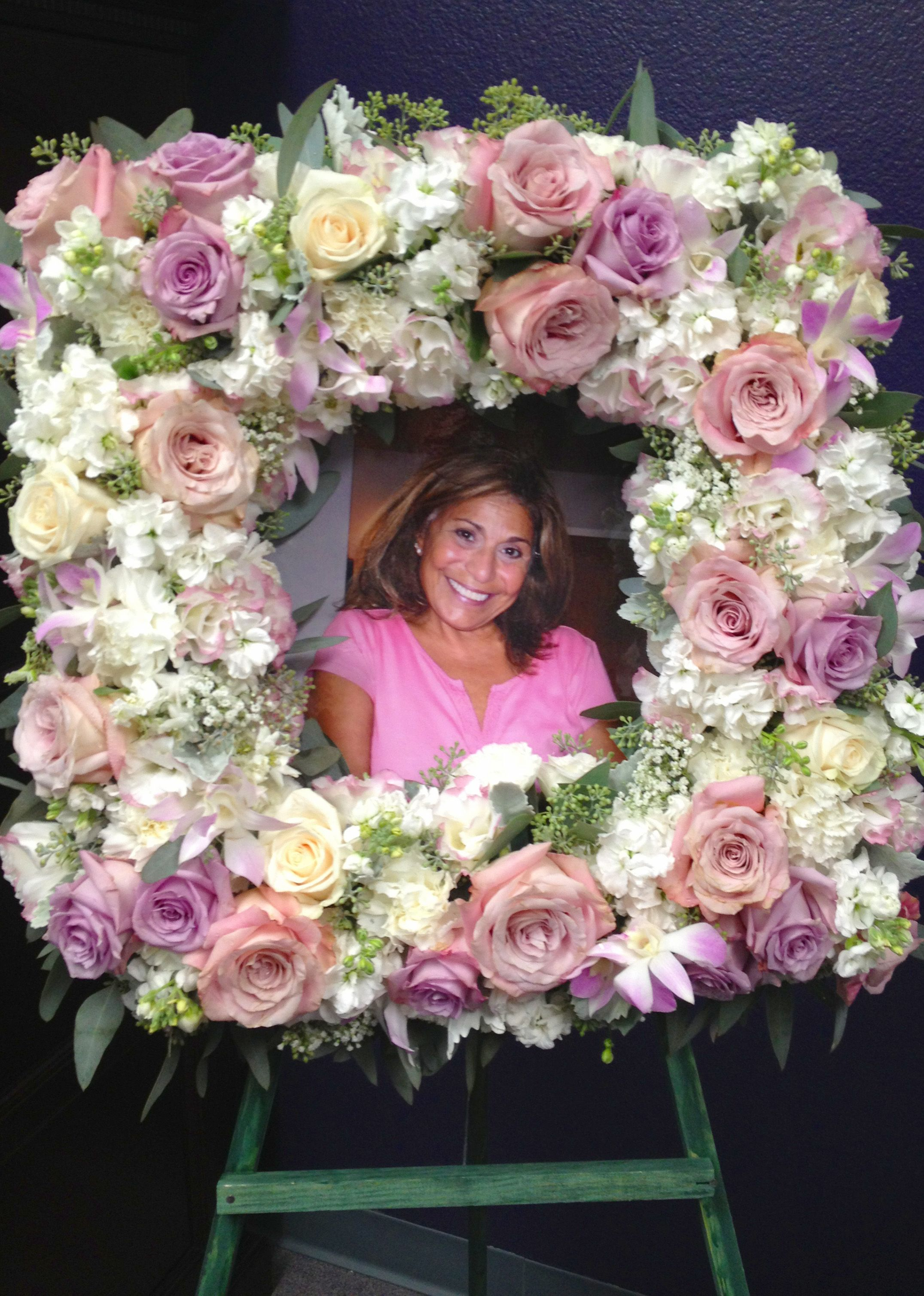 Pink and white frame wreath sympathy flowers church altar flower funeral flower arrangements dhlflorist Choice Image