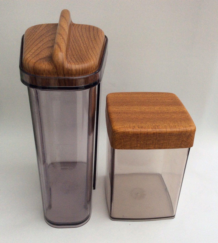 Retro Kitchen Storage Jars Reserved Ev Vintage Kitchen Storage Jars Serving Set Robex Wood