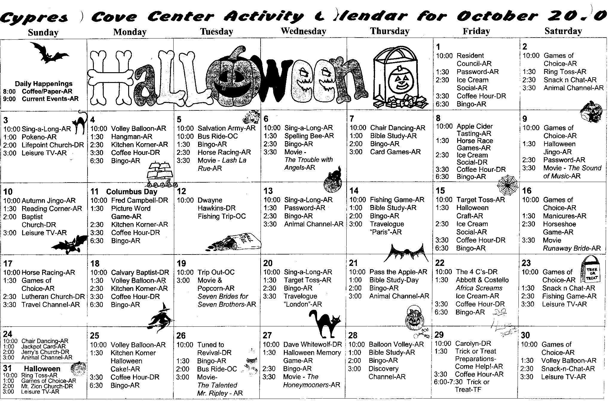 Calendar for Cypress Cove Care Center cypresscovecare.com