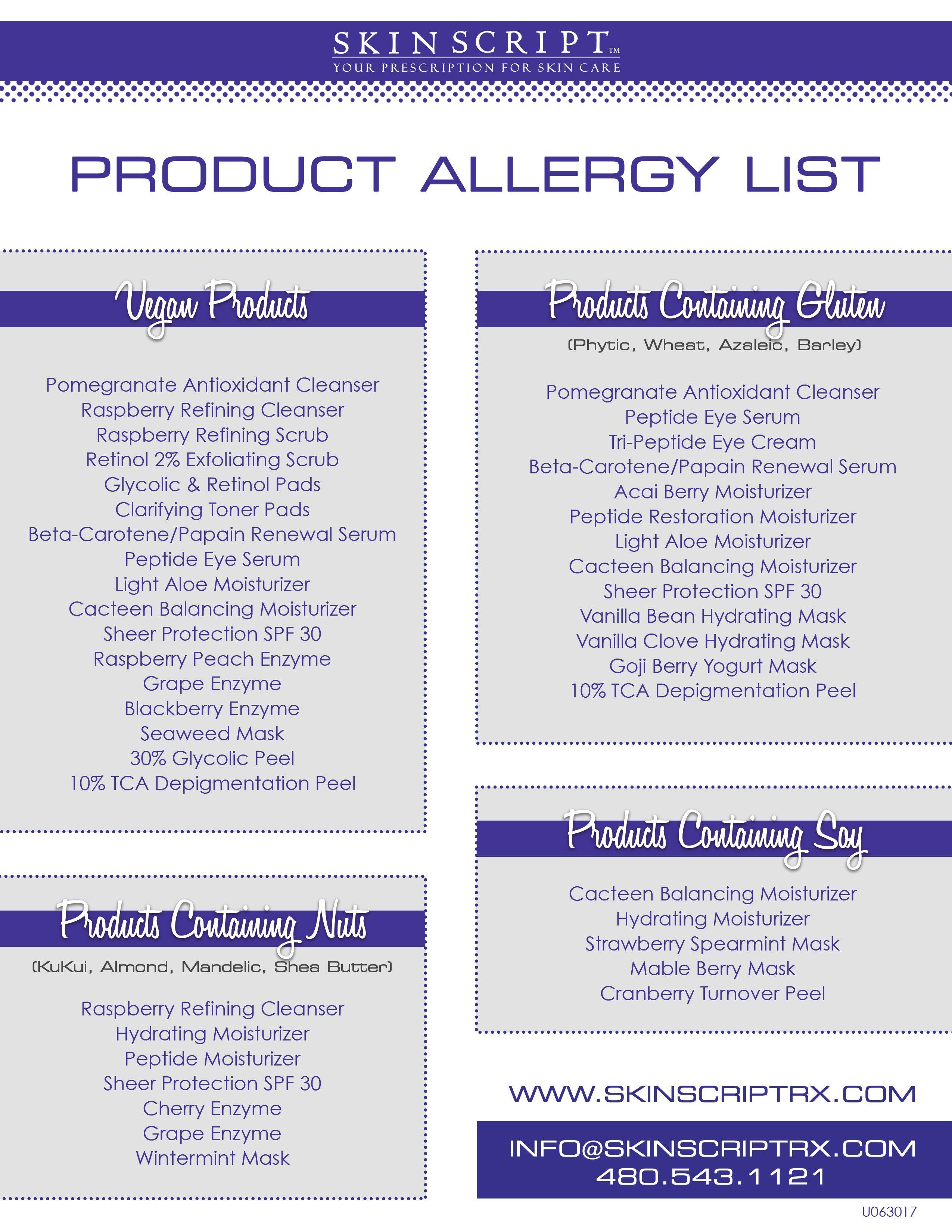 Productallergylist Gluten Vegan Soy Nuts Jpg 2550 3300 Skin Script Skin Aesthetics Professional Skin Care Products