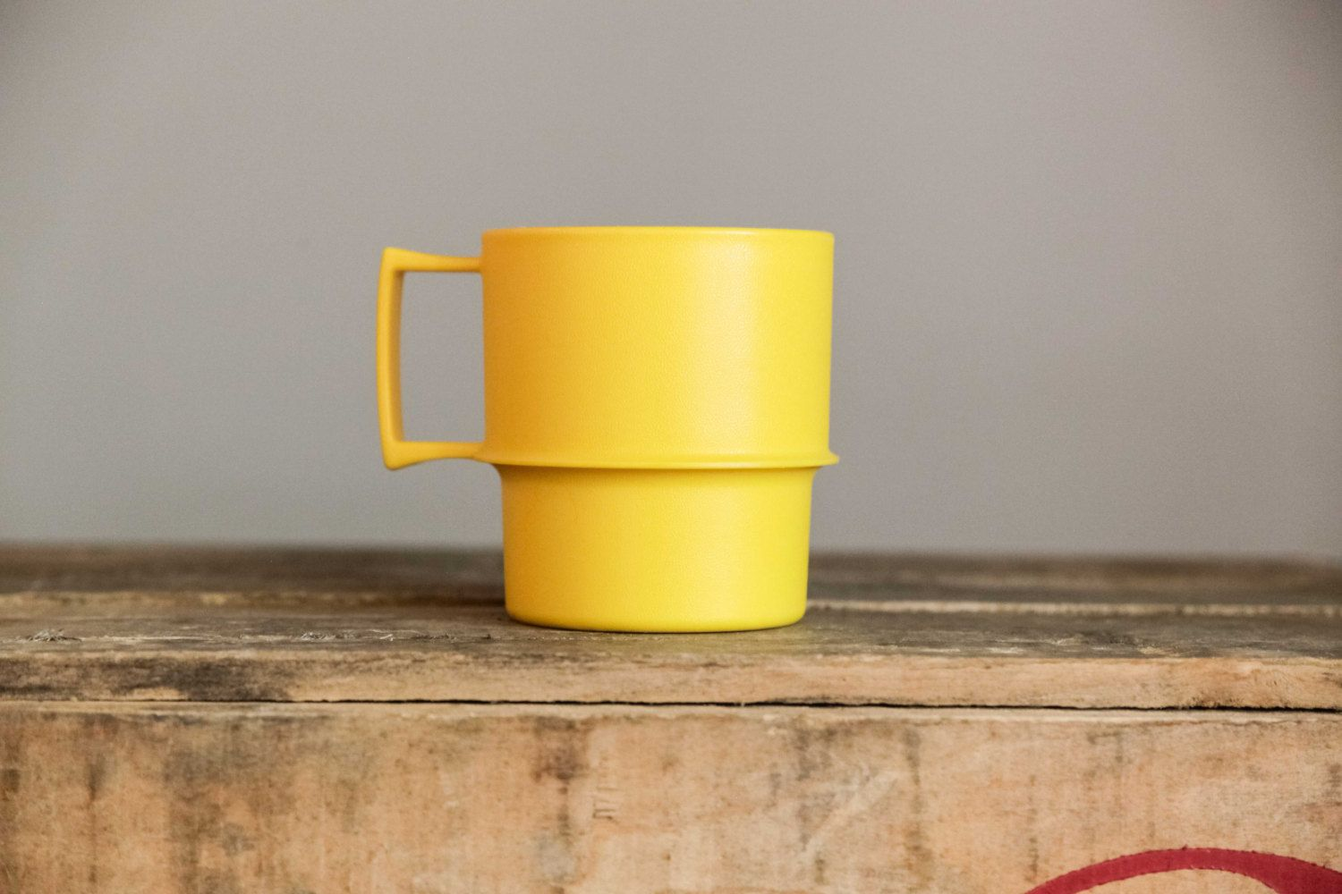 Yellow Tupperware Brand Cup Retro Vintage 70s