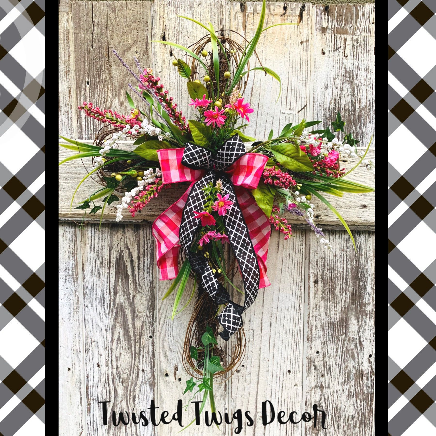 Easter Cross Door Hanger Easter Wreath Floral Cross For Easter Easter Decor Easter Door Hanger Easter Swags Easter Wreaths