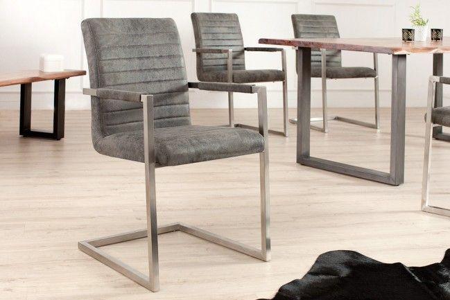 Freischwinger Stuhl IMPERIAL Vintage Grau Mit Gepolsterten Armlehnen Und  Edelstahlgestell