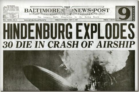 Image result for Hindenburg headline